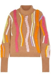 Peter Pilotto Embroidered Wool Blend Jacquard Turtleneck Sweater Beige