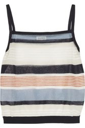 Suno Cropped Striped Cotton Blend Tank Ivory