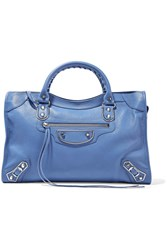 Balenciaga Metallic Edge City Textured Leather Tote Light Blue
