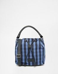 Jack Wills Drawstring Canvas Bucket Bag With Leather Trims Bluecheck