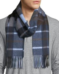 Neiman Marcus Cashmere Exploded Plaid Scarf Navy Brown