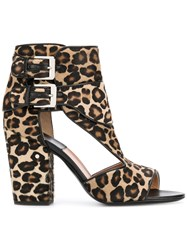 Laurence Dacade Rush Leopard Print Sandals Brown