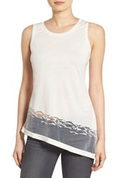 Trouve Women's Burnout Hem Racerback Tank White Snow