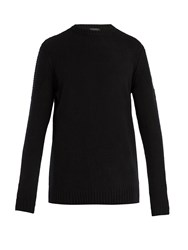 Belstaff South View Crew Neck Ribbed Knit Sweater Black