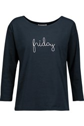 Chinti And Parker Embroidered Cotton Jersey Top Midnight Blue