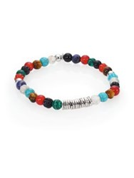 Tateossian Carnelian And Silver Discs Round Beads Bracelet Multi