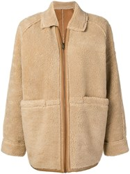 Le Mont St Michel Faux Shearling Coat Nude And Neutrals