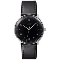 Junghans 027 3400.00 Men's Max Bill Automatic Leather Strap Watch Black