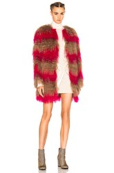 Msgm Stripe Fur Coat In Brown Pink Stripes Brown Pink Stripes