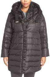 Plus Size Women's Tahari 'Olivia' Hooded Down Coat With Inset Bib And Knit Collar Black