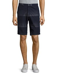 Calvin Klein Striped Cotton Shorts Cadet Navy