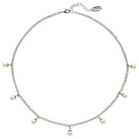 Finesse Faux Pearl Flower Top Chain Necklace Silver