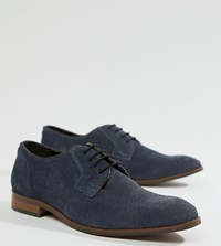 Dune Wide Fit Lace Up Suede Shoes In Navy Suede Blue