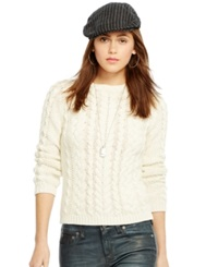 Polo Ralph Lauren Crew Neck Cable Knit Sweater Cream