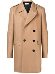 Saint Laurent Double Breasted Coat Nude And Neutrals