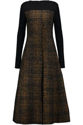 Marni Wool Blend Boucle Tweed Midi Dress Brown