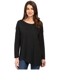 Lanston Asymmetrical Boyfriend Long Sleeve Top Black Women's Clothing