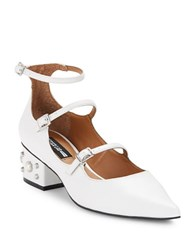 Design Lab Lord And Taylor Lauv Studded Faux Leather Heels White