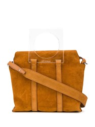 Elena Ghisellini Suede Satchel Bag Brown
