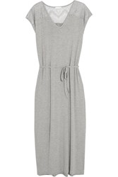 Skin Lace Paneled Stretch Jersey Nightdress Light Gray