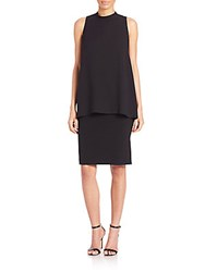 Lafayette 148 New York Leonore Silk Double Georgette Overlay Dress Black