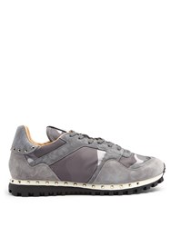 Valentino Rockrunner Camouflage Print Trainers Grey Multi