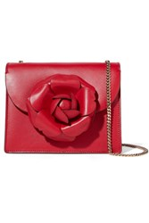 Oscar De La Renta Tro Mini Embellished Leather Shoulder Bag Red Usd