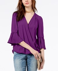 Inc International Concepts I.N.C. Surplice Neck Bell Sleeve Blouse Created For Macy's Purple