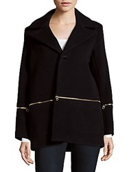 Sandro Mael Wool Blend Coat Navy Blue