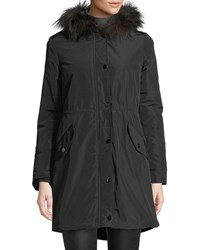 Belle Fare Hooded Microfabric Jacket W Fur Lining And Trim Black