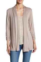 Bobeau Open Front Cardigan Brown