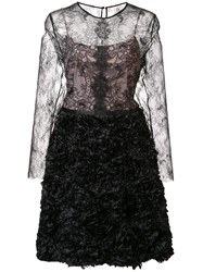Nha Khanh Lace Overlay Dress Black