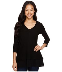 Vince Camuto Double Layer Mixed Media V Neck Top Rich Black Women's Blouse