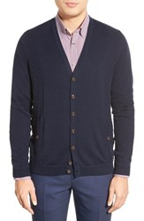 Men's Ted Baker London 'Lenham' Herringbone Panel Button Front Cardigan