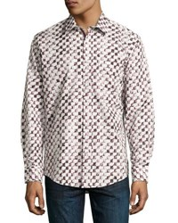 1 Like No Other Box Print Button Front Shirt Burgundy