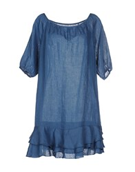 120 Lino Dresses Short Dresses Women Blue