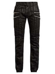 Balmain Distressed Slim Leg Jeans Black