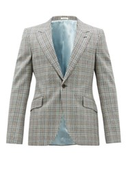 Alexander Mcqueen Single Breasted Checked Wool Jacket Grey Multi
