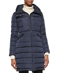 Moncler Flammette High Neck Puffer Coat Navy