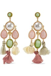 Ben Amun Gold Plated Faux Pearl Stone And Tassel Earrings One Size