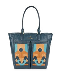 Nanette Lepore Echo Suede And Leather Tote Denim
