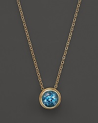 Bloomingdale's Blue Topaz Bezel Set Pendant Necklace In 14K Yellow Gold 17 Blue Gold