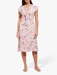 Adrianna Papell Floral V Neck Ruffle Dress Pink Blush