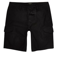 River Island Mens Black Relaxed Fit Cargo Shorts