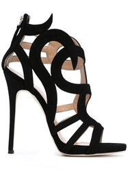 Giuseppe Zanotti Design Swirl Caged Heel Sandals Women Leather Suede 40 Black