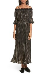 The Kooples Women's Polka Dot Off Shoulder Maxi Dress Black