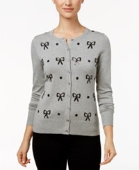 Charter Club Sequined Bow Cardigan Only At Macy's Heather Platinum