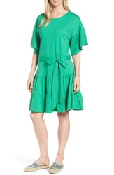 Bobeau Drop Waist Ruffle Cotton Dress Kelly Green