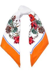 Sandro Printed Silk Twill Scarf Orange