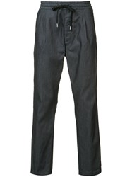 F.S.Z Drawstring Waist Trousers Men Cotton L Blue
